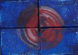 Art: Cherry Red original abstract painting by Artist Nancy Denommee