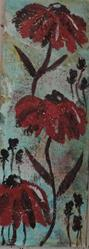 Art: three red flowers by Artist Nancy Denommee
