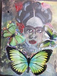 Art: Frida With Wings on display easel by Artist Nancy Denommee