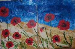 Art: Poppies in Abstract original diptych by Artist Nancy Denommee