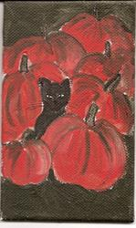 Art: Cat Among the Pumpkins original painting by Artist Nancy Denommee