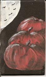 Art: Pumpkins in the Moonlight original painting by Artist Nancy Denommee