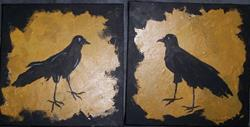 Art: Beak to Beak original diptych painting by Artist Nancy Denommee
