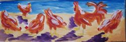 Art: Rhode Island Reds in the yard by Artist Nancy Denommee