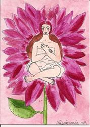 Art: The Pink Sunflower by Artist Nancy Denommee