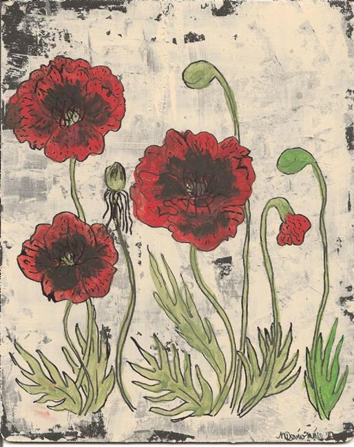 Art: Poppies in the Country SOLD by Artist Nancy Denommee