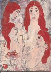 Art: Four Sisters with Oranges SOLD by Nancy Denommee