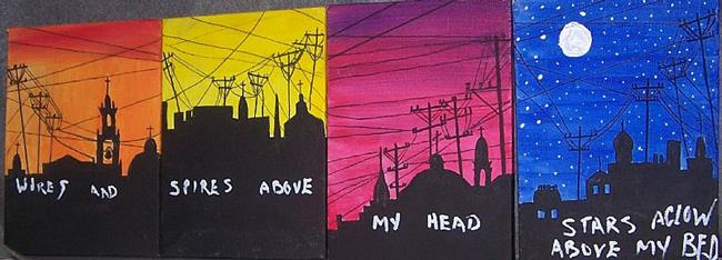 Art: Wires and Spires quatrotych SOLD by Artist Nancy Denommee