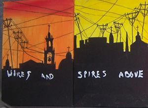 Detail Image for art Wires and Spires quatrotych SOLD