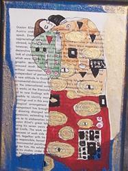Art: The Embrace original painting ala KLIMT by Artist Nancy Denommee