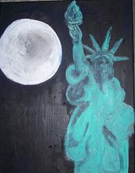 Art: Statue of Libery Under Full Moon original by Artist Nancy Denommee
