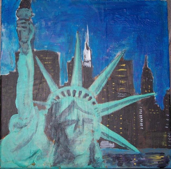 Art: Statue of Liberty Against Manhattan Skyline by Artist Nancy Denommee
