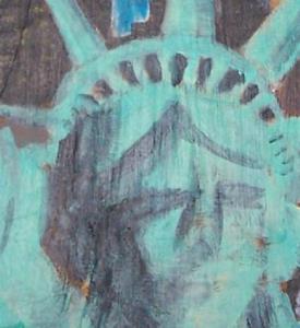 Detail Image for art Statue of Liberty Against Manhattan Skyline