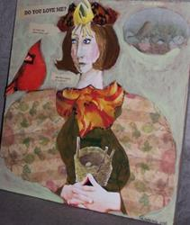 Art: Do You Love Me original collage painting by Artist Nancy Denommee