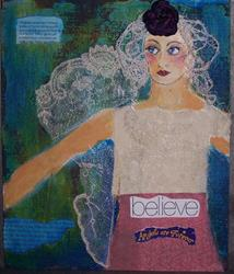 Art: Believe Angels are Forever mixed media painting by Artist Nancy Denommee