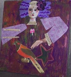 Art: She Appeared At Last mixed media painting by Artist Nancy Denommee