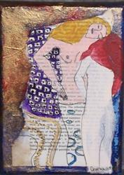 Art: The Friends original mixed media paint ala Klimt by Artist Nancy Denommee