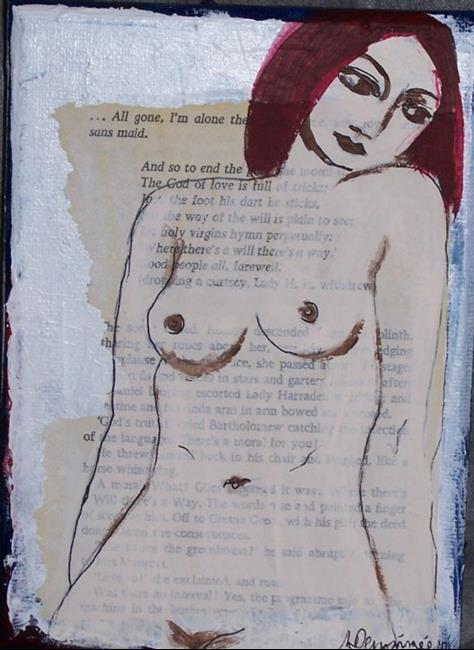 Art: All Gone, I'm Alone original mixed media painting by Artist Nancy Denommee