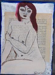 Art: Bloomsbury original mixed media painting by Artist Nancy Denommee