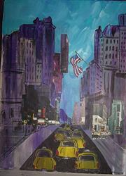 Art: Through the Purple Canyons of New York City by Artist Nancy Denommee