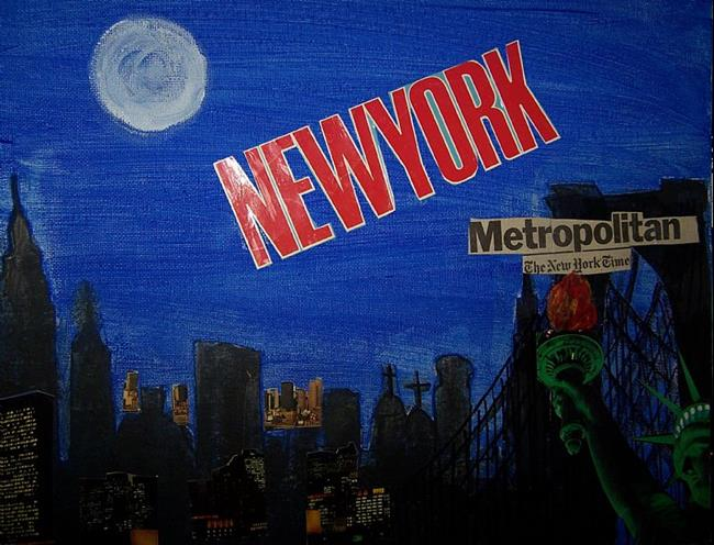 Art: New York Night metropolitan.jpg by Artist Nancy Denommee