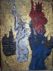 Art: Red White and Blue Ladies in Golden City glare SOLD by Artist Nancy Denommee
