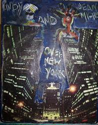 Art: Andy and Jean Michel Over New York by Artist Nancy Denommee