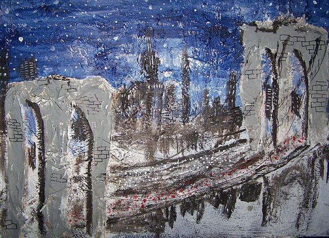 Art: Brooklyn Bridge on a Starry Night  by Artist Nancy Denommee