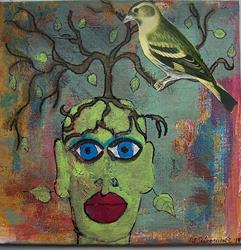 Art: green woman, yellow bird by Artist Nancy Denommee