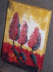 Art: The Red Trees original oil painting by Artist Nancy Denommee
