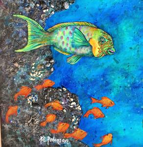 Detail Image for art BLACK CORAL CAVE -PARROT FISH 24x36
