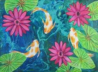 Art: Fantail Goldfish KOI Pond by Artist Ke Robinson