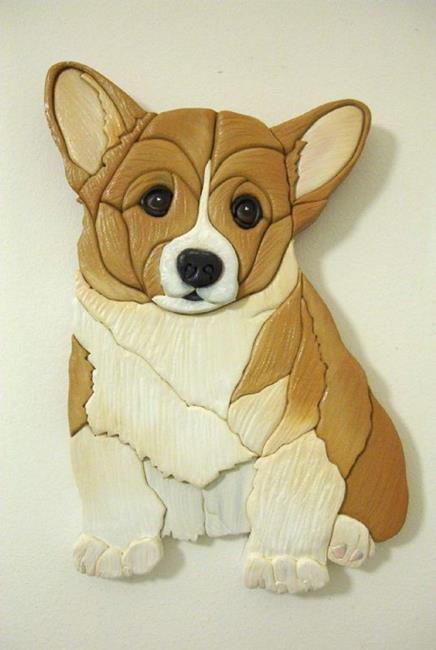 Art: Corgi Little Pup Original Intarsia Painted Art by Artist Gina Stern