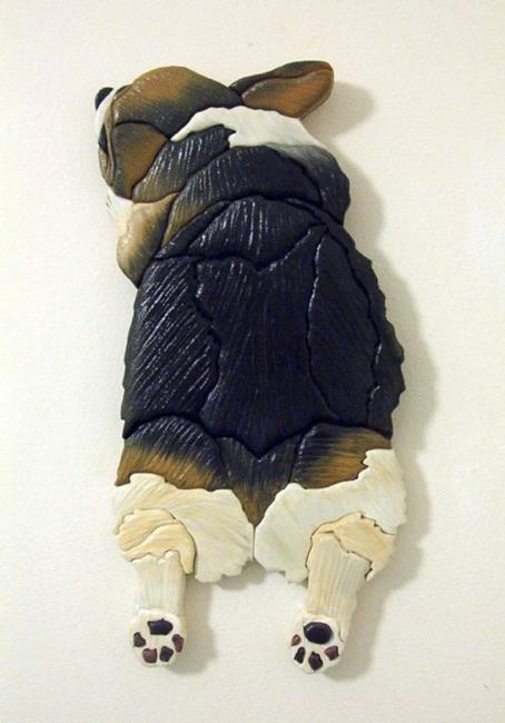 Art: Corgi Tri Bunny Butt Painted Original Intarsia Art by Artist Gina Stern