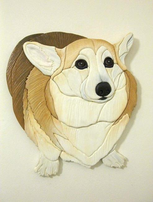 Art: Custom Corgi Darcy Original Intarsia Painted Art by Artist Gina Stern