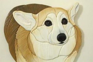 Detail Image for art Custom Corgi Darcy Original Intarsia Painted Art