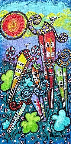 Art: Rainbow Cottages by Artist Juli Cady Ryan