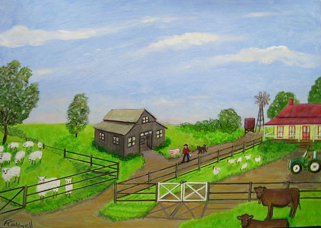 Art: Farm Life - One Man and His Dog (Sold) by Artist Fran Caldwell