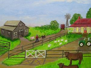 Detail Image for art Farm Life - One Man and His Dog (Sold)