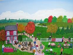 Art: Fall Yard Sale (Sold) by Artist Fran Caldwell