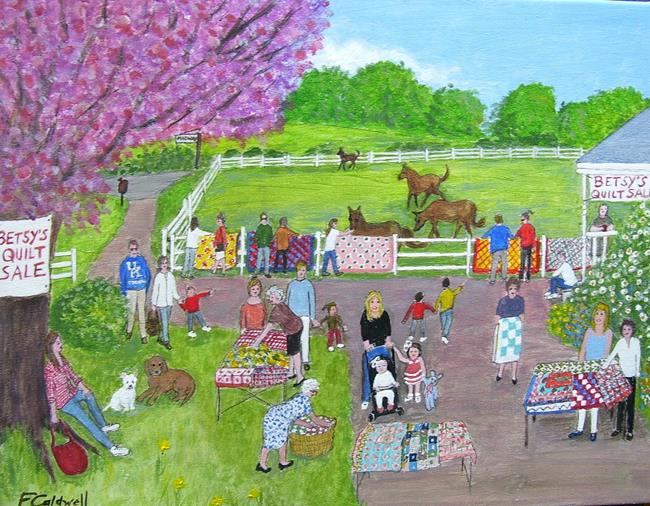 Art: Betsy's Quilt Sale  (Commission) by Artist Fran Caldwell