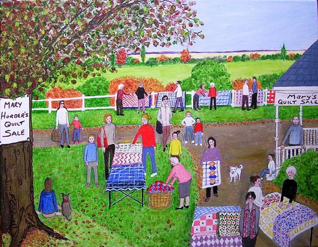 Art: Mary's Quilt Sale (Commission) by Artist Fran Caldwell