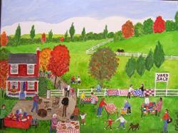 Art: Fall Yard Sale III (Commission) by Artist Fran Caldwell