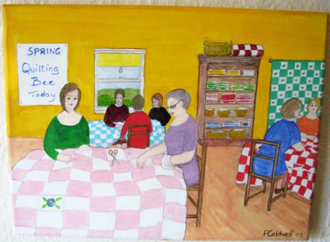 Art: Quilting Bee (not for sale) by Artist Fran Caldwell
