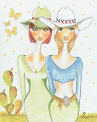 Art: Texas Cowgirls Night Out by Artist Sherry Key