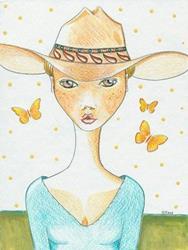 Art: Freckles Texas Cowgirl by Artist Sherry Key