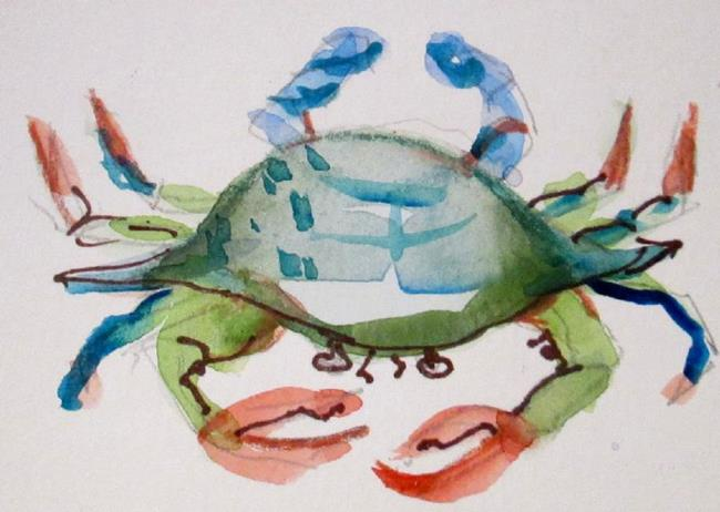 Art: Blue and Green Crab Aceo by Artist Delilah Smith