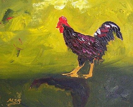 Art: Cuban Rooster Oil Painting by Artist Maria Soto Robbins