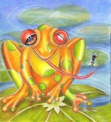 Art: Froggie Polka Dot by Artist Alma Lee