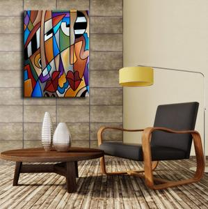 Detail Image for art Original Cubist Art Piano Men